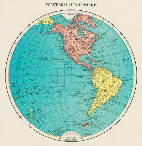 Western Hemisphere, World Atlas, 1908 - McGaw Graphics