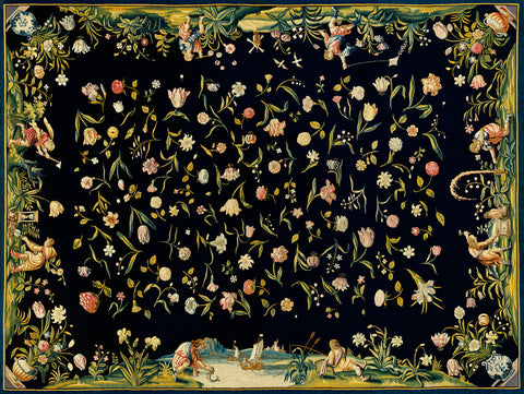 Table Carpet with the Four Elements and a Strewn Floral Pattern, 1650 - McGaw Graphics