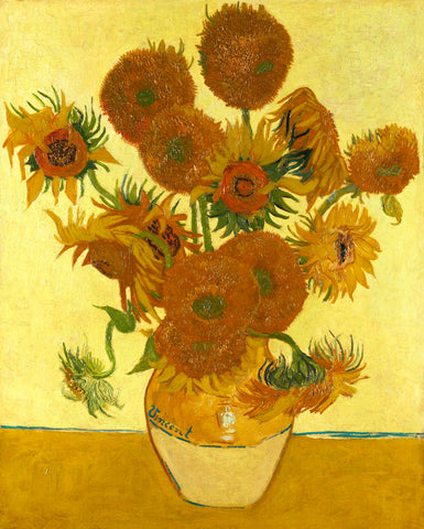 Vincent van Gogh - Sunflowers on Gold, 1888