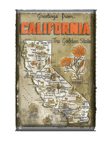 Greetings from California -  Vintage Vacation - McGaw Graphics