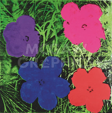 Flowers, c. 1964 (1 purple, 1 blue, 1 pink, 1 red) -  Andy Warhol - McGaw Graphics