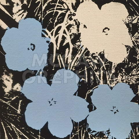 Flowers, 1965 (3 blue, 1 ivory) -  Andy Warhol - McGaw Graphics