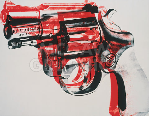 Gun, c. 1981-82 (black and red on white) -  Andy Warhol - McGaw Graphics