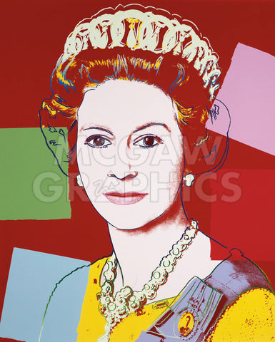 Reigning Queens: Queen Elizabeth II of the United Kingdom, 1985 (dark outline) -  Andy Warhol - McGaw Graphics