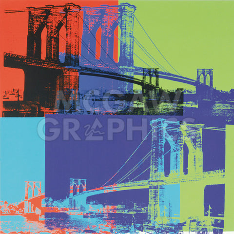 Andy Warhol - Brooklyn Bridge, 1983 (orange, blue, lime)