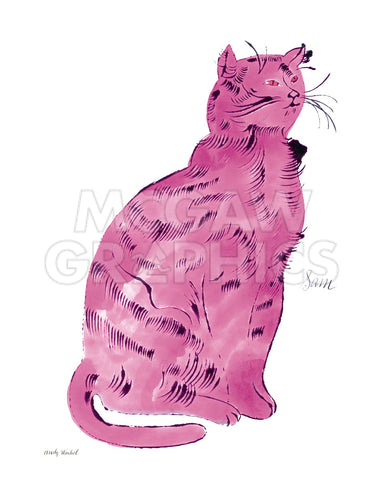 "Andy Warhol - Cat From ""25 Cats Named Sam and One Blue Pussy"", c.1954 (Pink Sam)"