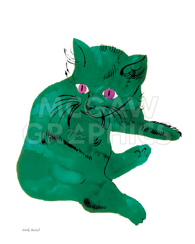 "Cat From ""25 Cats Named Sam and One Blue Pussy"", c. 1954  (Green Cat) -  Andy Warhol - McGaw Graphics"