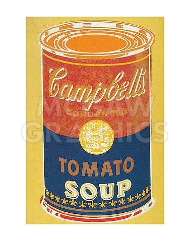 Colored Campbell's Soup Can, 1965 (yellow & blue) -  Andy Warhol - McGaw Graphics