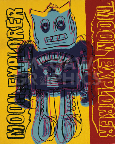 Moon Explorer Robot, 1983 (blue & yellow) -  Andy Warhol - McGaw Graphics