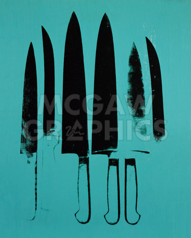 Knives, c. 1981-82 (Aqua) -  Andy Warhol - McGaw Graphics