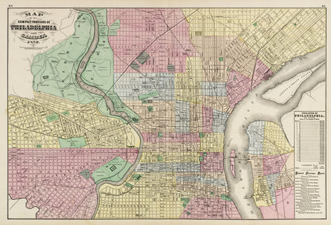The Compact Portions of Philadelphia and Camden, 1872 -  Walling & Gray - McGaw Graphics