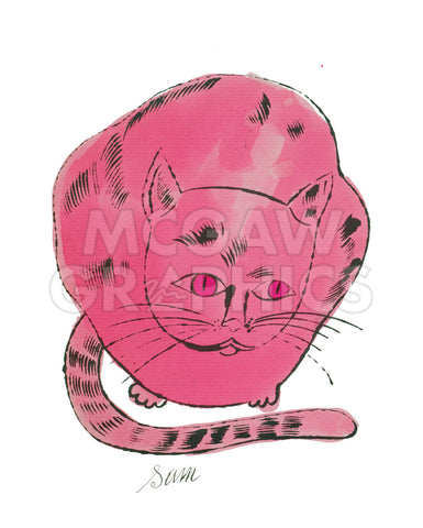 Andy Warhol - Cat from 25 Cats Name[d] Sam and One Blue Pussy, 1954 (hot pink sam)
