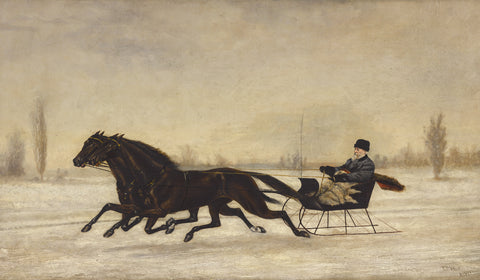 David Marsh in Horse-Drawn Sleigh in a Winter Landscape, 1880 -  Peter B. West - McGaw Graphics