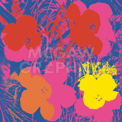 Flowers, 1970 (red, yellow, orange on blue) -  Andy Warhol - McGaw Graphics