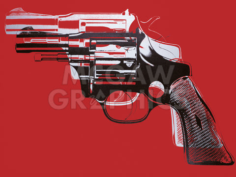 Guns, c. 1981-82 (white and black on red) -  Andy Warhol - McGaw Graphics