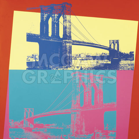 Andy Warhol - Brooklyn Bridge, 1983  (blue bridge/yellow background)