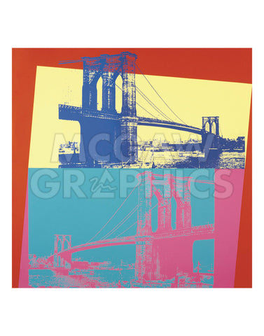 Brooklyn Bridge, 1983  (blue bridge/yellow background) -  Andy Warhol - McGaw Graphics