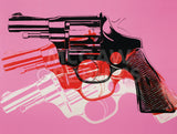 Gun, c. 1981-82  (black, white, red on pink) -  Andy Warhol - McGaw Graphics
