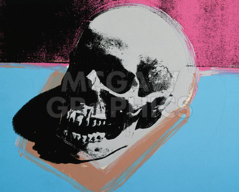 Andy Warhol - Skull, 1976 (white on blue and pink)