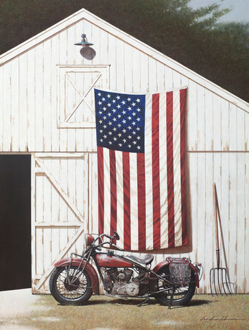 Barn and Motorcycle -  Zhen-Huan Lu - McGaw Graphics