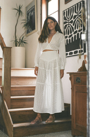 Zimi Wrap Top - Blanc // Broderie Anglaise