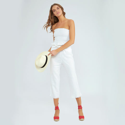 Winona Rouched Crop - Pure White