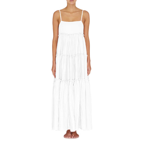 Lottie Tiered Maxi Dress - Blanc