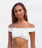 Ava Shoulder Wrap Top - Linear Bloom