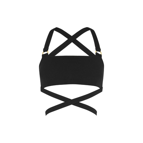 Frankie Tie Down Crop - Textured Noir