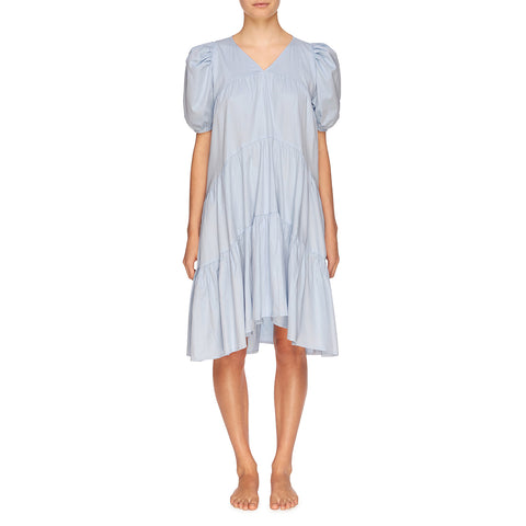 Matteo Tiered Midi Dress - Powder Blue