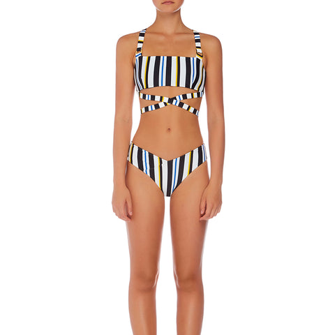 Arlo High Waisted V Pant - Airforce Stripe