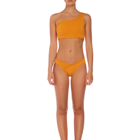 Layla Asymmetrical Crop - Textured Amber
