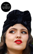 Load image into Gallery viewer, Hand-made Velvet Bow Turban Hat - Black