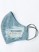 Load image into Gallery viewer, Custom Pale Blue Ripped Denim cotton backed face mask