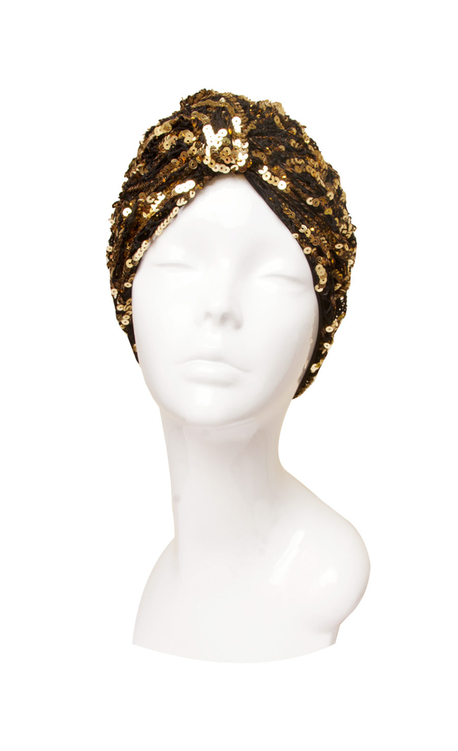 Gold Sequinned lace vintage style turban hat