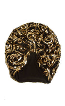 Load image into Gallery viewer, Gold Sequinned lace vintage style turban hat