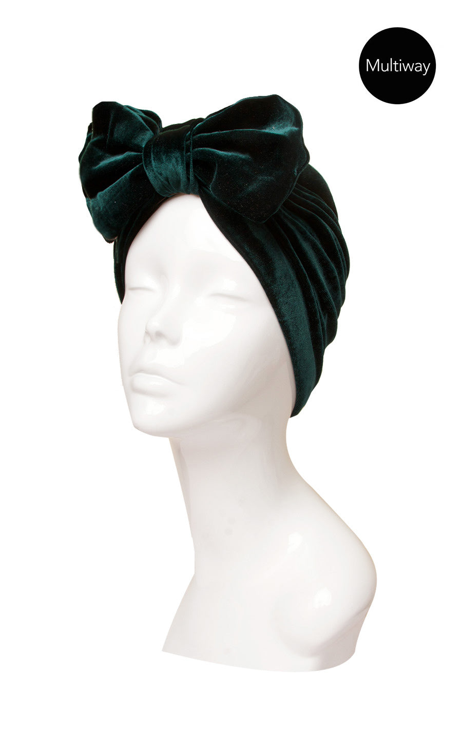 Luxe Bottle Green bow turban hat - reversible and adjustable.