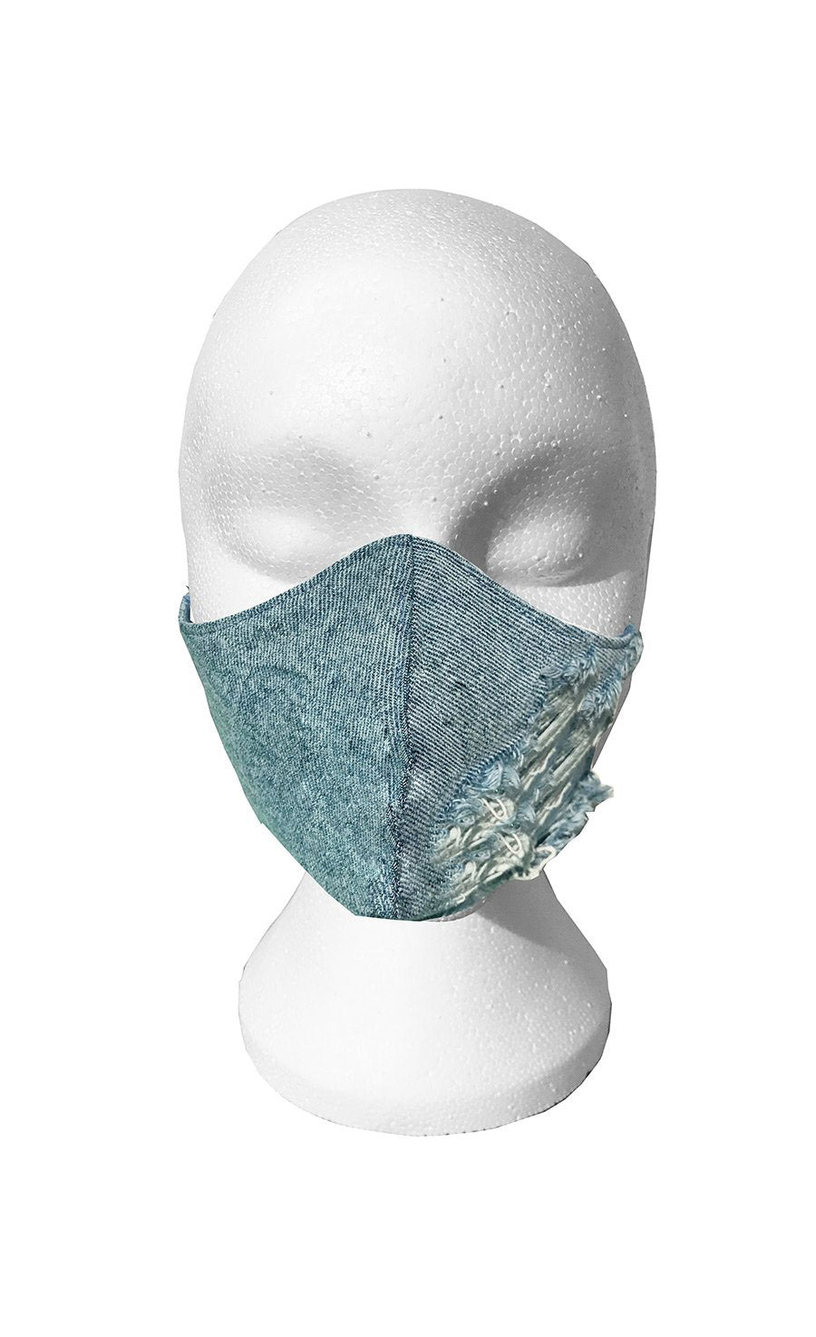 Custom Pale Blue Ripped Denim cotton backed face mask