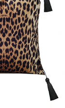 Load image into Gallery viewer, Leopard print luxe velvet cushion cover 18 x 18 inch with black tassels