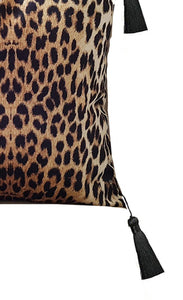 Leopard print luxe velvet cushion cover 18 x 18 inch with black tassels