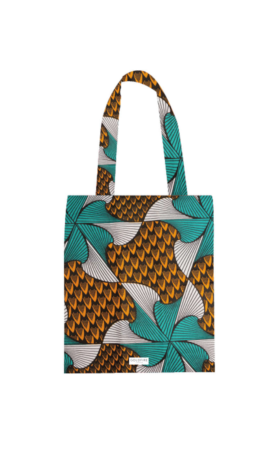 African Print floral Tote bag in orange and green