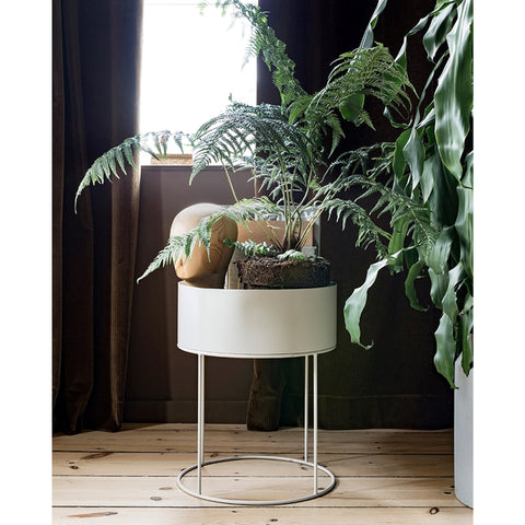 Plant Box Round light grey