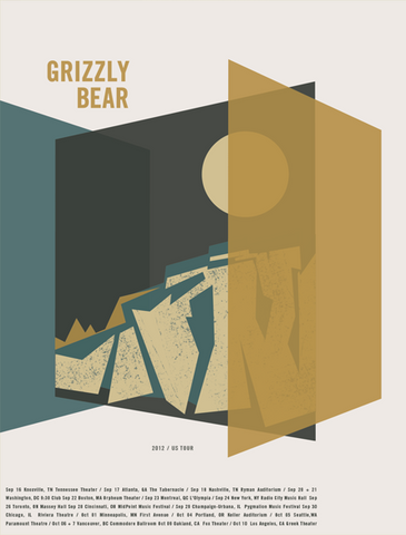 GRIZZLY BEAR OFFICIAL 2012 US TOUR POSTER