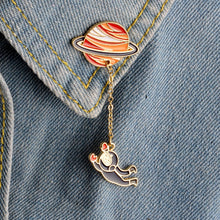 Load image into Gallery viewer, Fashion Astronaut Earth Moon Rabbit Saturn Mars Planet Brooches Women Men Girl Drip Pins Collar Badge Animal Jewelry Wholesale