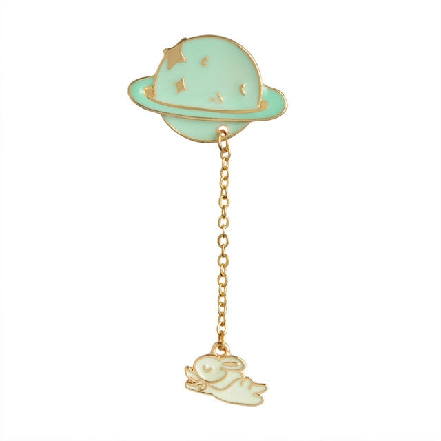 Fashion Astronaut Earth Moon Rabbit Saturn Mars Planet Brooches Women Men Girl Drip Pins Collar Badge Animal Jewelry Wholesale