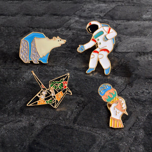 Cartoon Enamel Paper crane Polar bear Astronaut Ice cream Pins Button Animal Brooch Bag Jacket Coat Accessories Pin Badge Gift