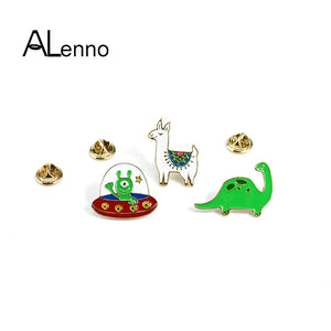 1pcs/lot Cute Alpaca Alien Dinosaur llama Enamel Pins Cartoon Metal Badges Set On Backpack Kids Icons Coat Brooches Jewelry