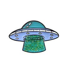 "Load image into Gallery viewer, GDHY Universe Brooch Cat UFO Yellow Pizza Space Astronaut Helmet NCC-1701 Spaceship""DRUGS""Earth Moon Enamel Pin Badge Brosche"