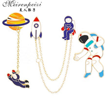Load image into Gallery viewer, Meirenpeizi Escape from the earth UFO Space Craft Astronaut Rocket Planet Spaceman Universe Stars Hard Enamel Brooches Pin