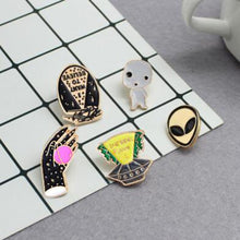 Load image into Gallery viewer, 2pcs/set UFO Spaceship Space Shuttle Alien Baby Planet Brooch Pin Set Outer Space Enamel Pins Button Metal Badges For Women Men